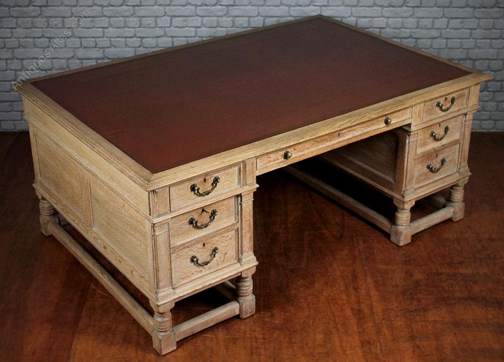 Limed Oak Partners Desk C 1920 Antiques Atlas