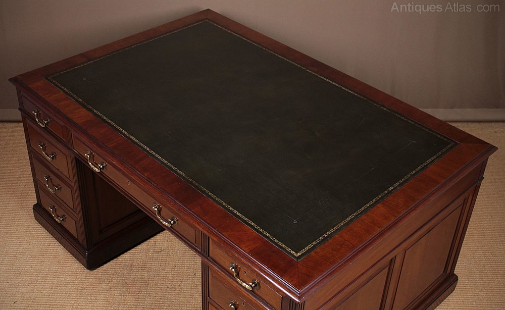 Mahogany Double Sided Partners Pedestal Desk C 1 Vintage And Retro Desks Alt5