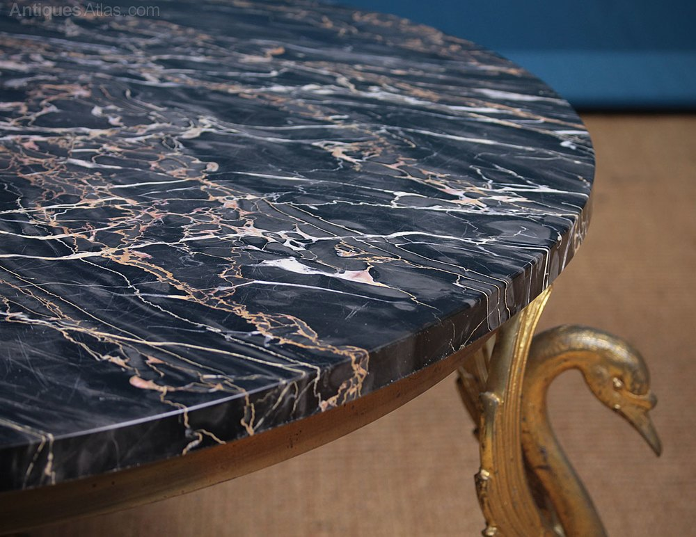 Marble Top Coffee Table With Swan Legs C 1950 Antiques