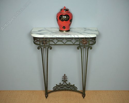 brand new 8c63a 8fad6 Marble Top & Painted Wrought Iron Console Table. - Antiques ...