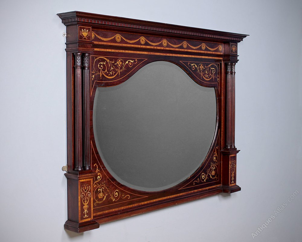 Antiques Atlas Marquetry Inlaid Over Mantle Mirror C 1905