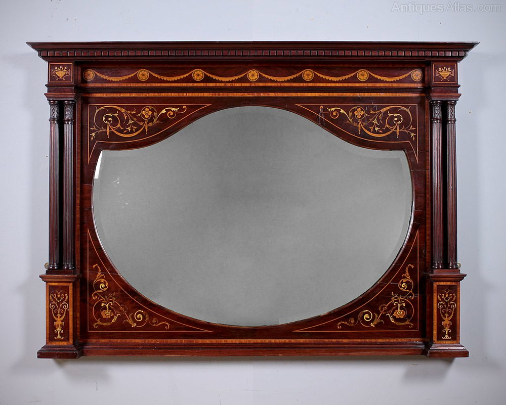 Antiques atlas marquetry inlaid over mantle mirror for Mantle mirror