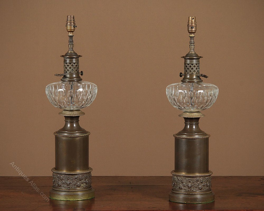 Pair Brass & Glass Table Lamps c.1940