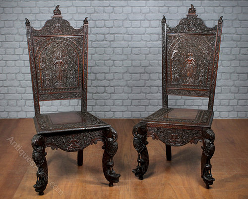 - Pair Carved Anglo-Indian Chairs C.1890. - Antiques Atlas