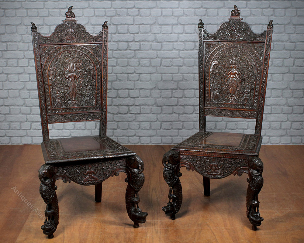 Pair Carved Anglo-Indian Chairs C.1890. - Antiques Atlas
