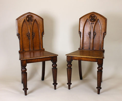 Gothic Oak Hall Chairs. - Pair Mid 19th.c. Gothic Oak Hall Chairs. - Antiques Atlas