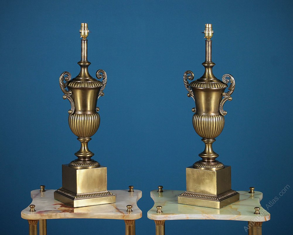 Antiques Atlas - Pair Large Brass Table Lamps C.1960.