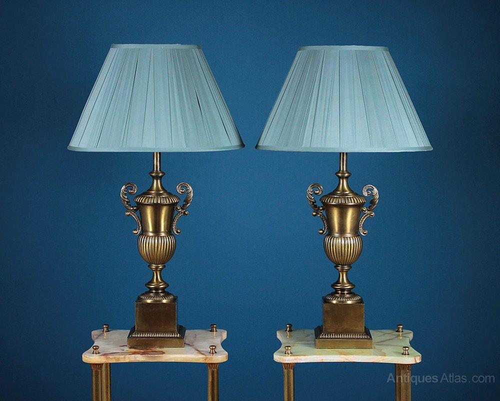 Antiques atlas pair large brass table lamps c1960 pair large brass table lamps c1960 mozeypictures Gallery