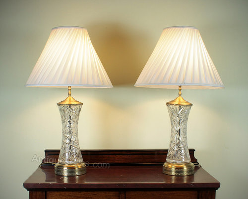 Antiques atlas pair large glass table lamps pair large glass table lamps mozeypictures Gallery