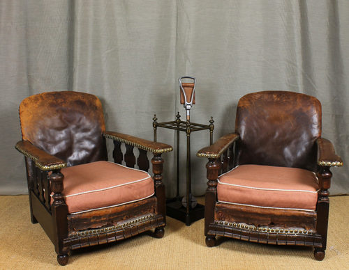 - Pair Leather Bothy Chairs. - Antiques Atlas