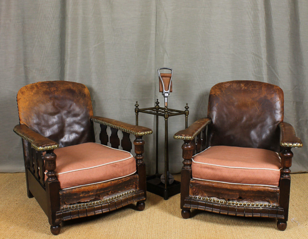 Pair Leather Bothy Chairs. Antique ... - Pair Leather Bothy Chairs. - Antiques Atlas