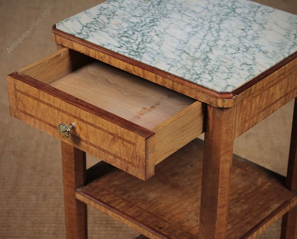 Pair maple three tier marble top side tables antiques atlas - Marble tops for furniture ...