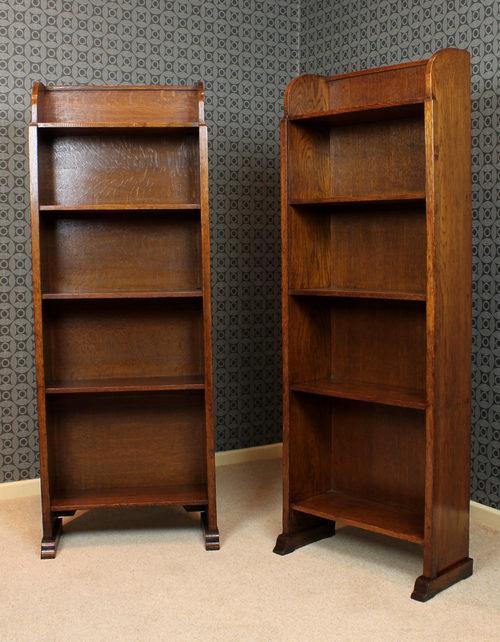 Pair Oak Bookshelves C1910 Antique