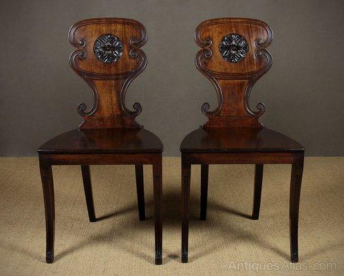 Pair Of George Iii Mahogany Hall Chairs