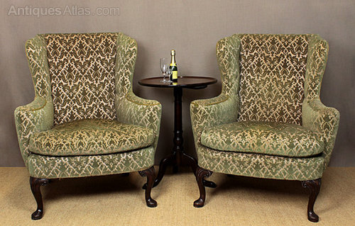 Pair Wingback Armchairs. - Antiques Atlas