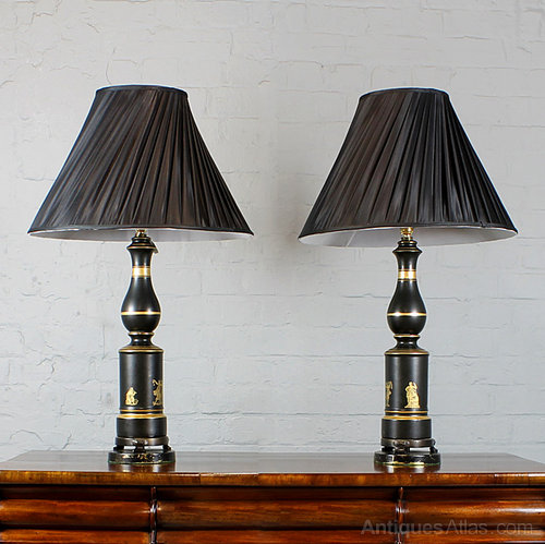 Pair Of Black And Gold Table Lamps