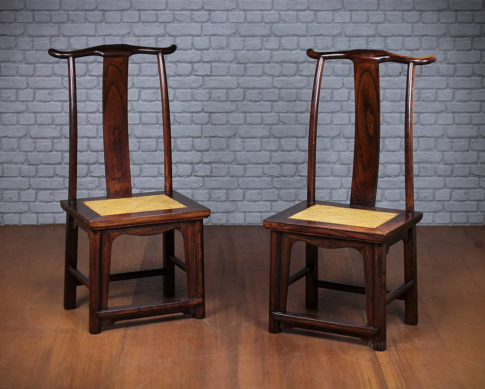 Wonderful Pair Of Chinese Elm Yoke Back Chairs. Vintage Country Chairs ...