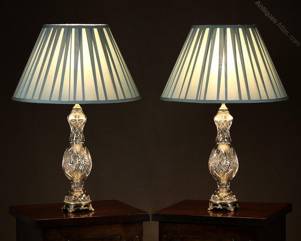 Antiques atlas pair of cut glass table lamps c1950 pair of cut glass table lamps c1950 aloadofball Gallery