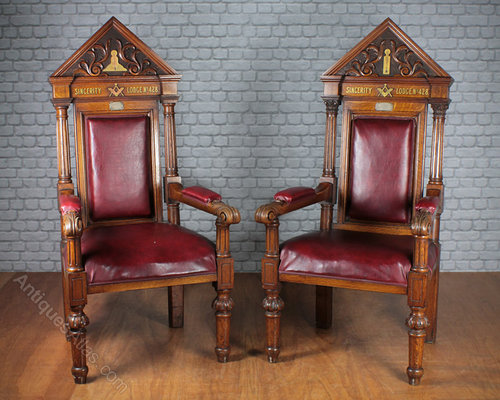 Pair of Masonic Throne Chairs c.1894. Antique Throne ... - Pair Of Masonic Throne Chairs C.1894. - Antiques Atlas