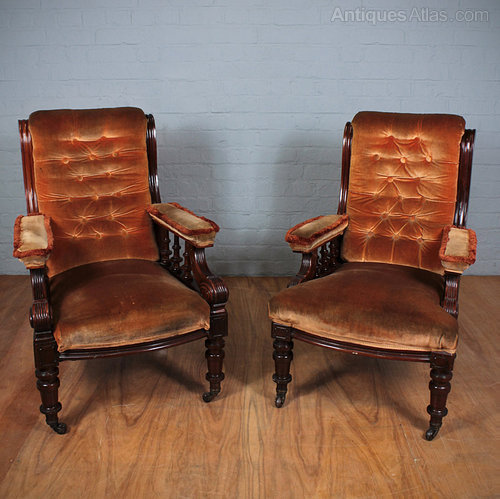 Pair Of Victorian Armchairs. - Antiques Atlas