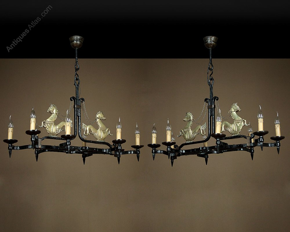 Antiques Atlas Pair Of Wrought Iron Chandeliers With