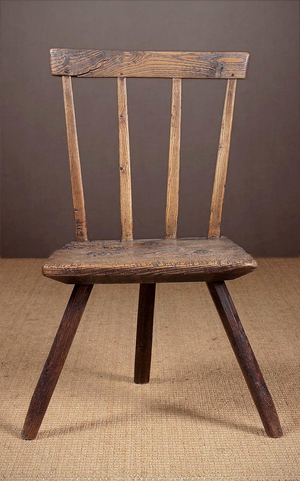 ... Antique Primitive Chairs ... - Primitive Welsh Stick Back Chair C.1790 - Antiques Atlas