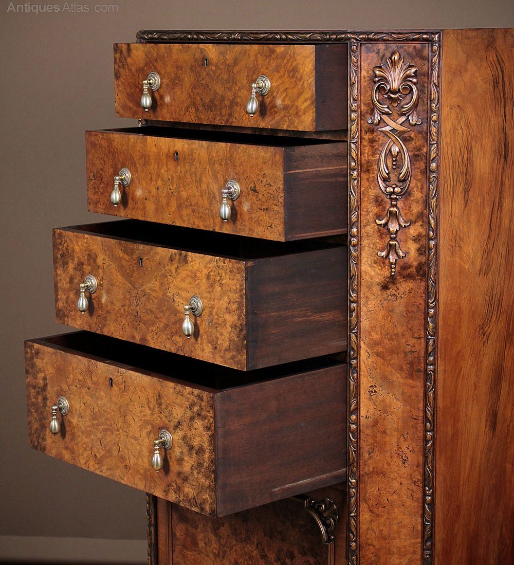 Queen anne style burr walnut tallboy antiques atlas for Queen anne style