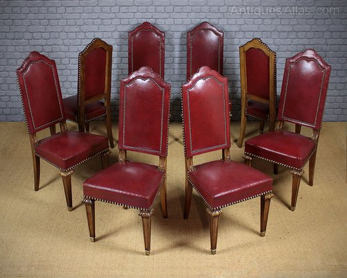 Surprising Set Of 8 Oak Red Leather Dining Chairs C 1930 Antiques Machost Co Dining Chair Design Ideas Machostcouk