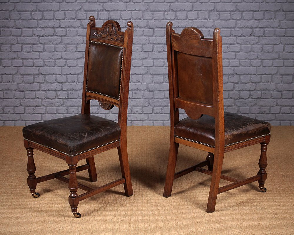 Set Of Eight Oak Amp Leather Dining Chairs C 1890