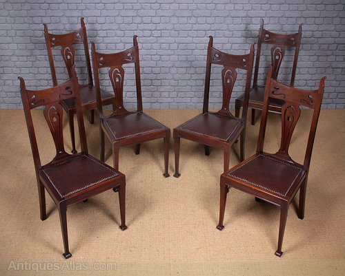 Set Of Six Art Nouveau Dining Chairs C1890