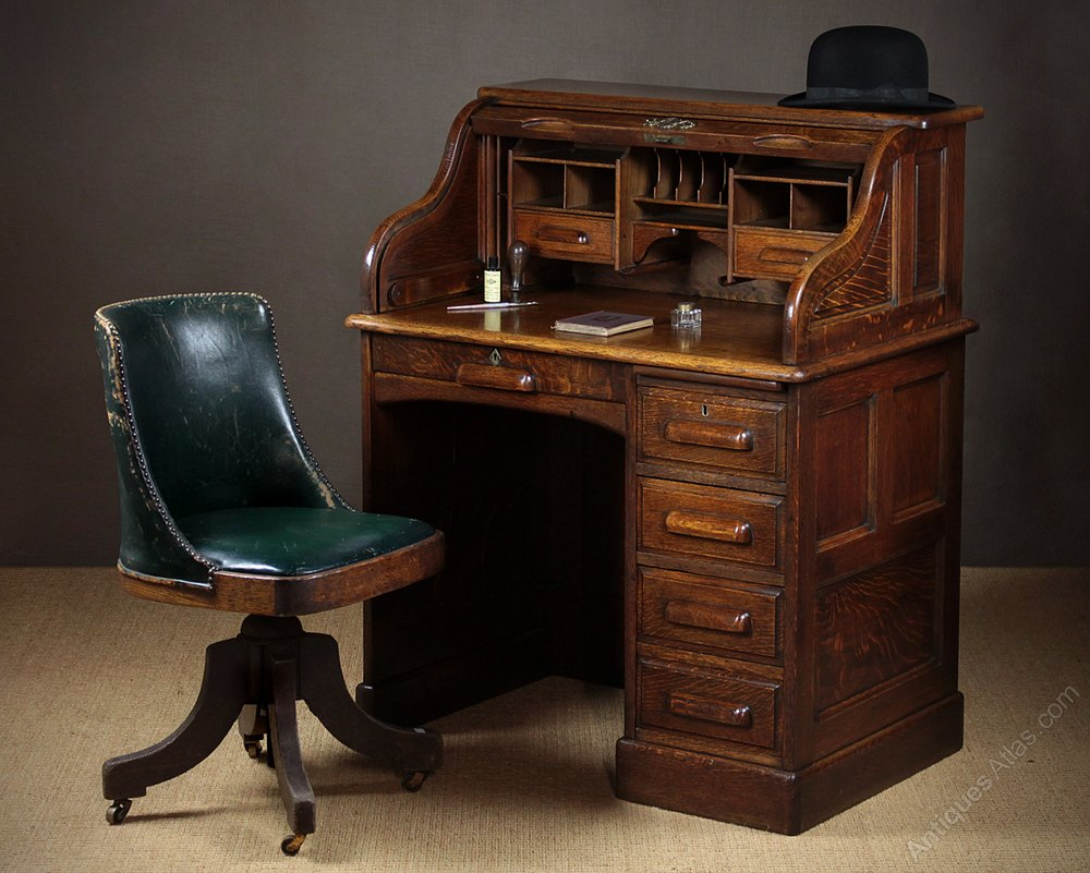 Oak Roll Top Desk C 1920 Antique