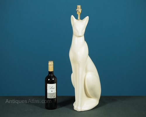 Tall Cat Table Lamp C 1960