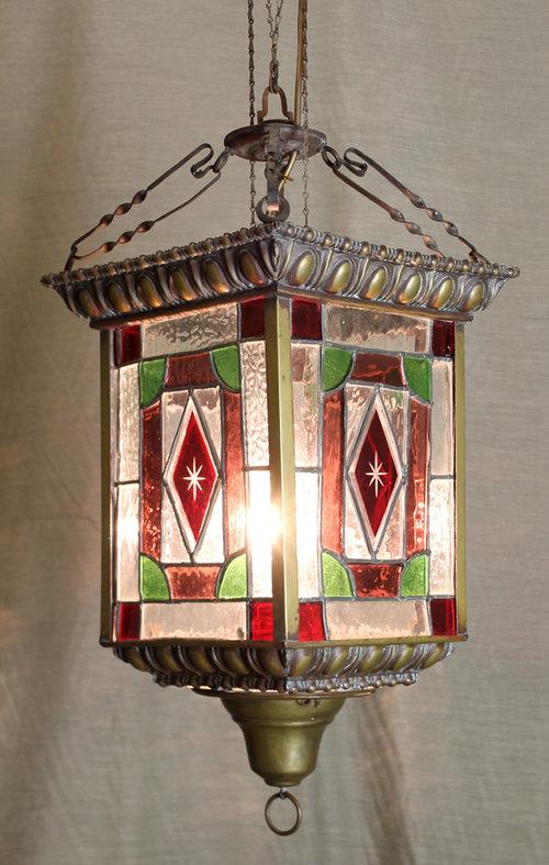 Antiques Atlas Victorian Colourd Glass Porch Light