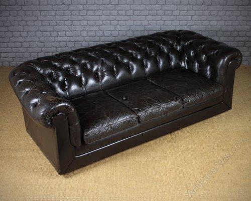 Antiques Atlas - Vintage Black Leather Chesterfield Sofa C.1970.