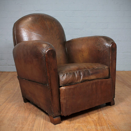 Vintage French Leather Armchair Antiques Atlas