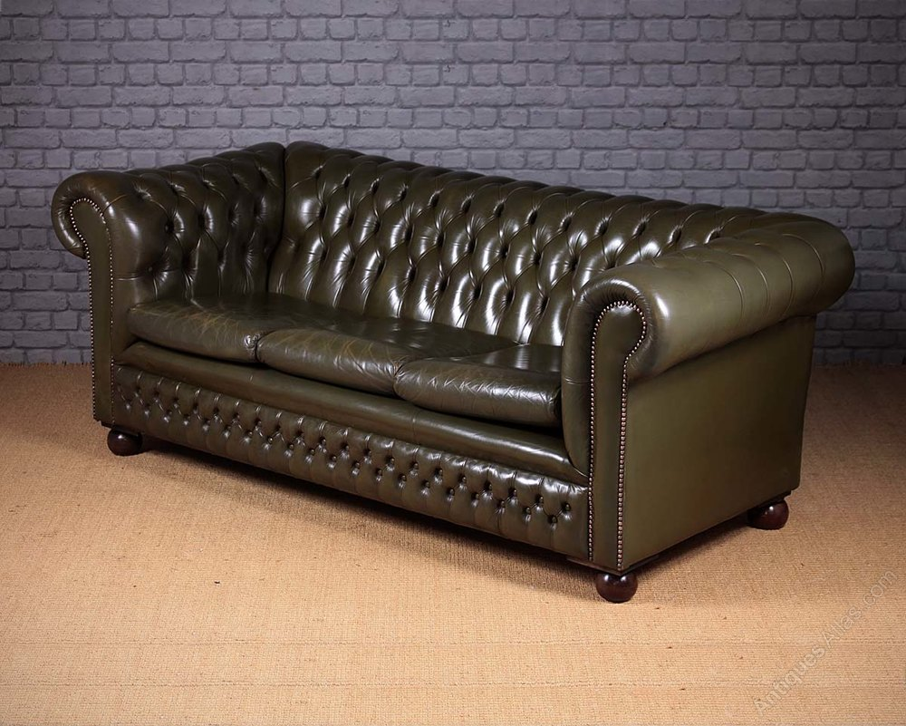 Antiques Atlas Vintage Green Leather Chesterfield Sofa C 1970