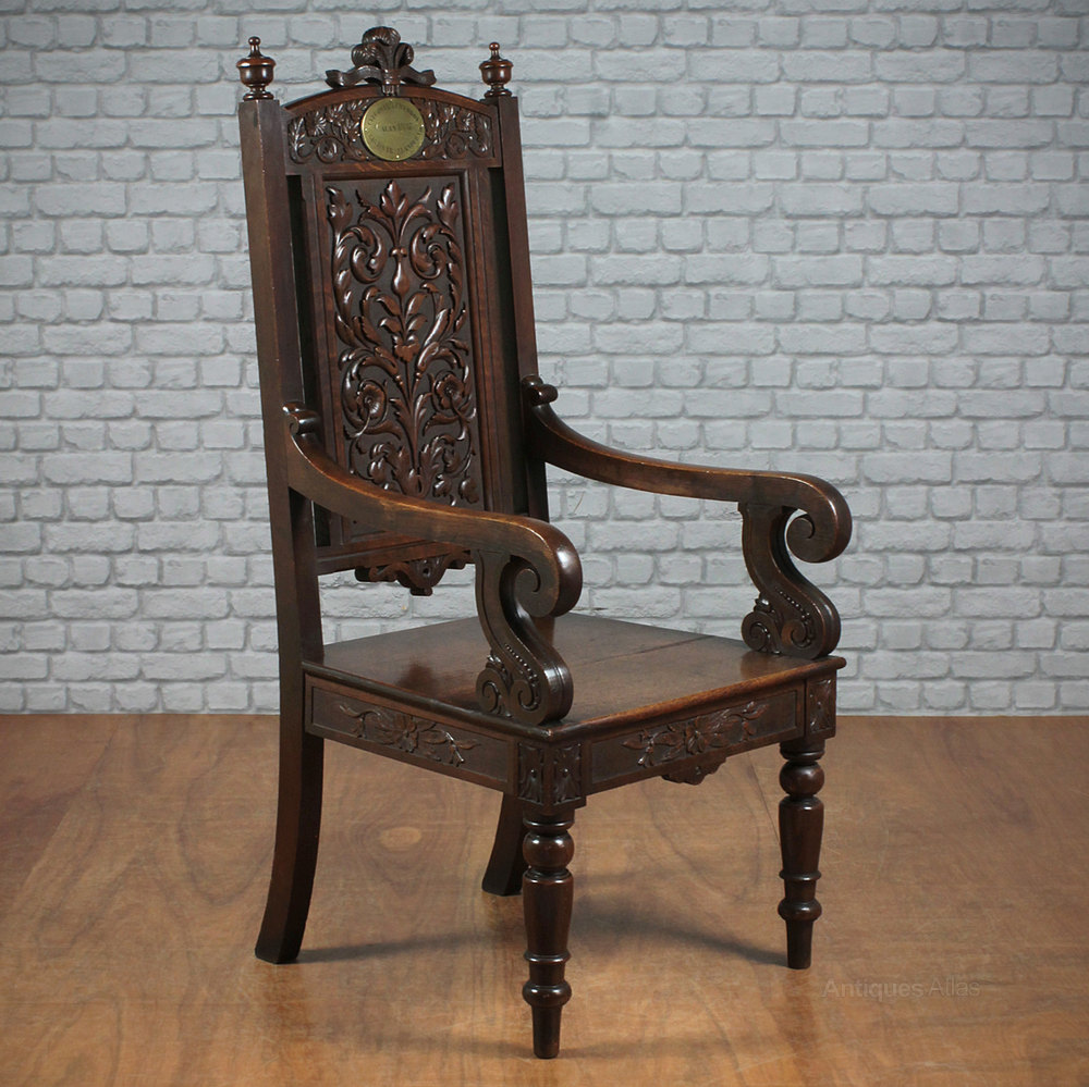 Welsh Carved Oak Literary Throne Chair. Antique ... - Welsh Carved Oak Literary Throne Chair. - Antiques Atlas