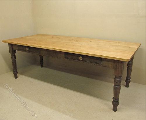 Large Pine Kitchen Table - Antiques Atlas