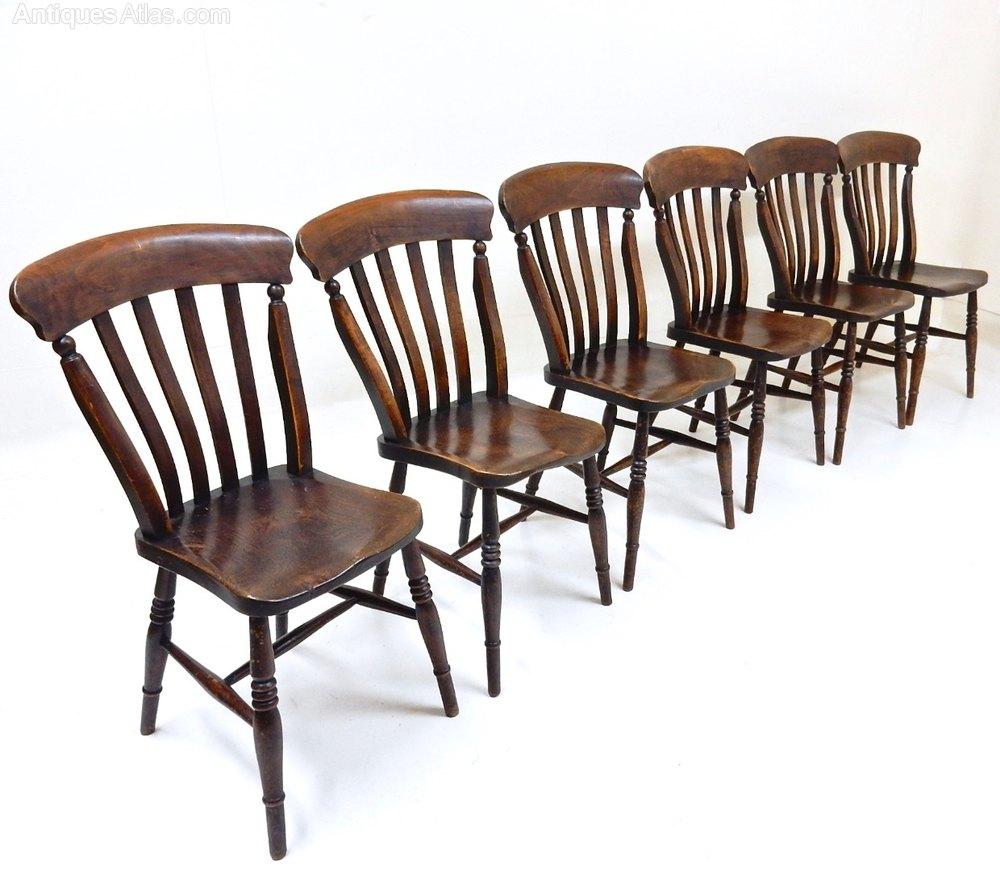 Set Of 6 Windsor Lathback Kitchen Chairs Antiques Atlas