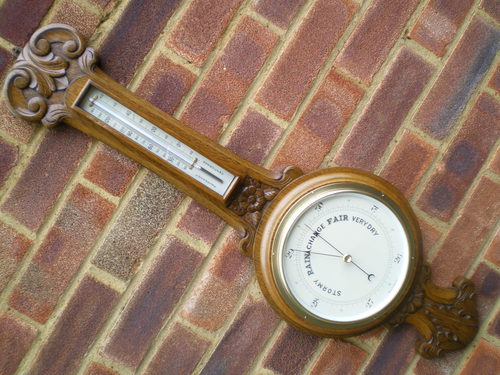 Oak Aneroid Hall Barometer