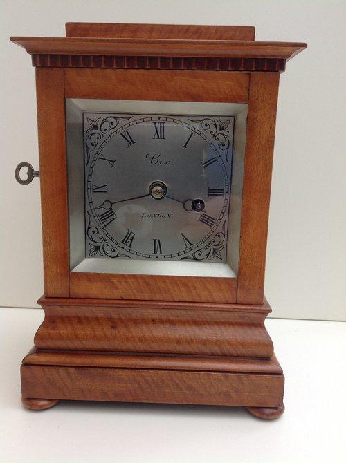 Satinwood fusee library clock