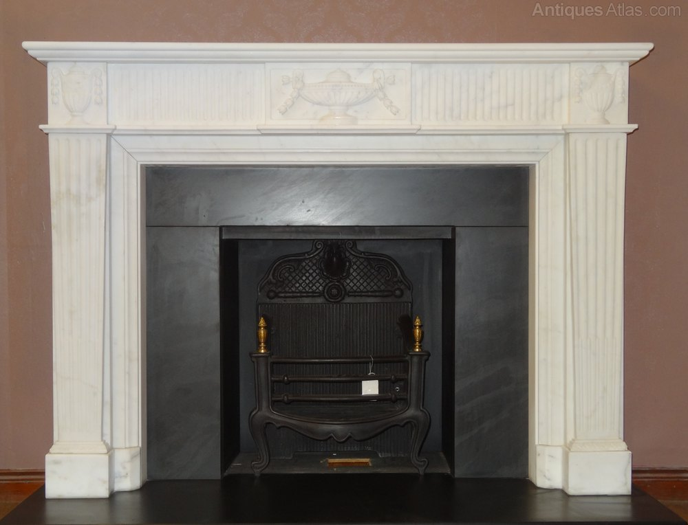 Antiques atlas 1930 39 s white marble fireplace surround for Marble for fireplace surround