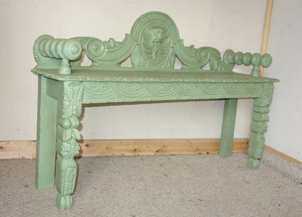 Carved Oak Victorian Painted Green Bench Antiques Atlas