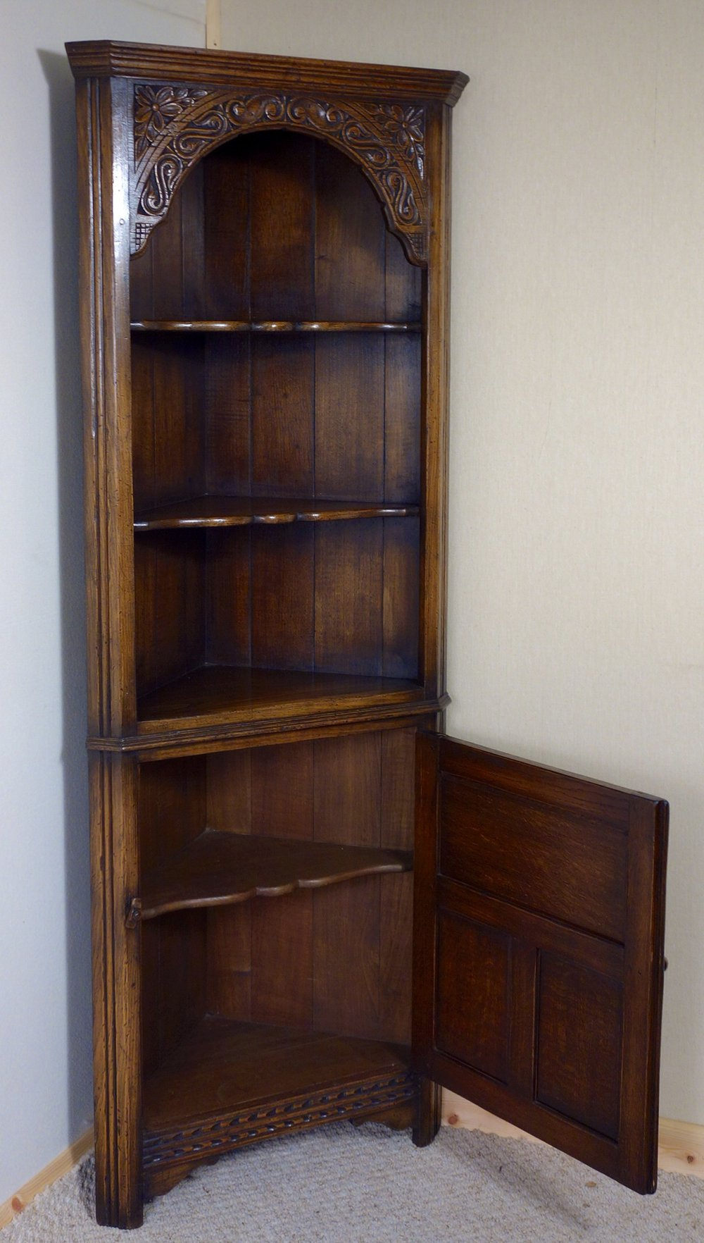 Distressed carved oak corner cupboard antique corner cupboards ipswich cabinet distressed