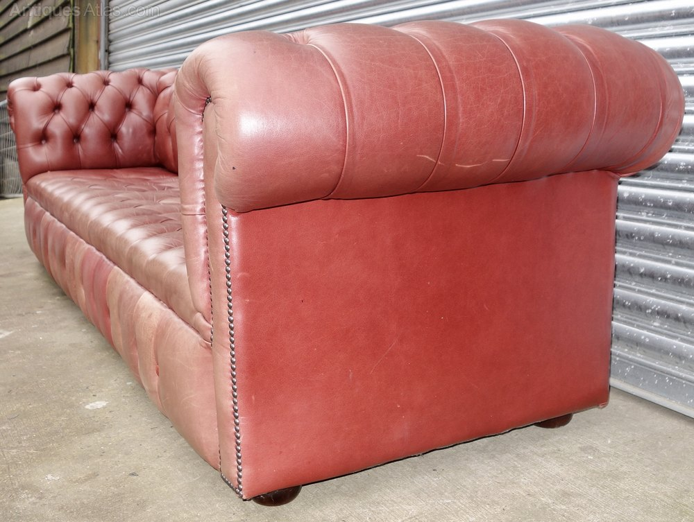 Antiques Atlas Huge Leather Faded Red Chesterfield Sofa