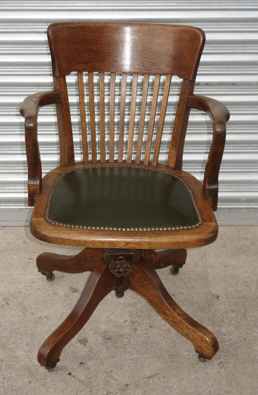Oak Green Leather Swivel Office Desk Study Chair
