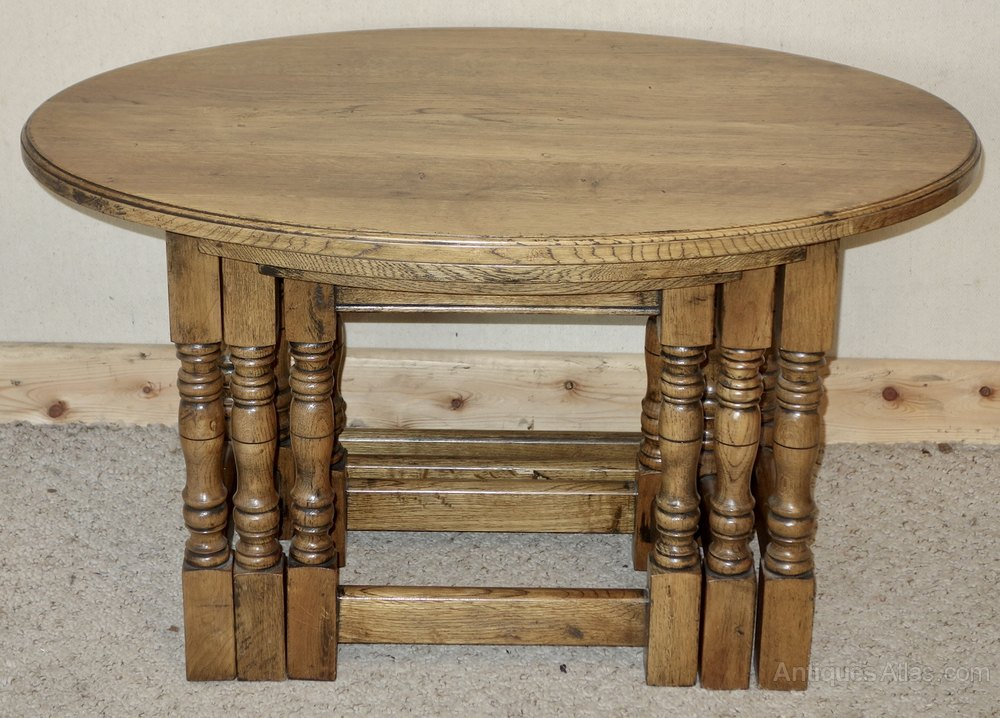 Antiques Atlas Oval Oak Nest Of Coffee Tables