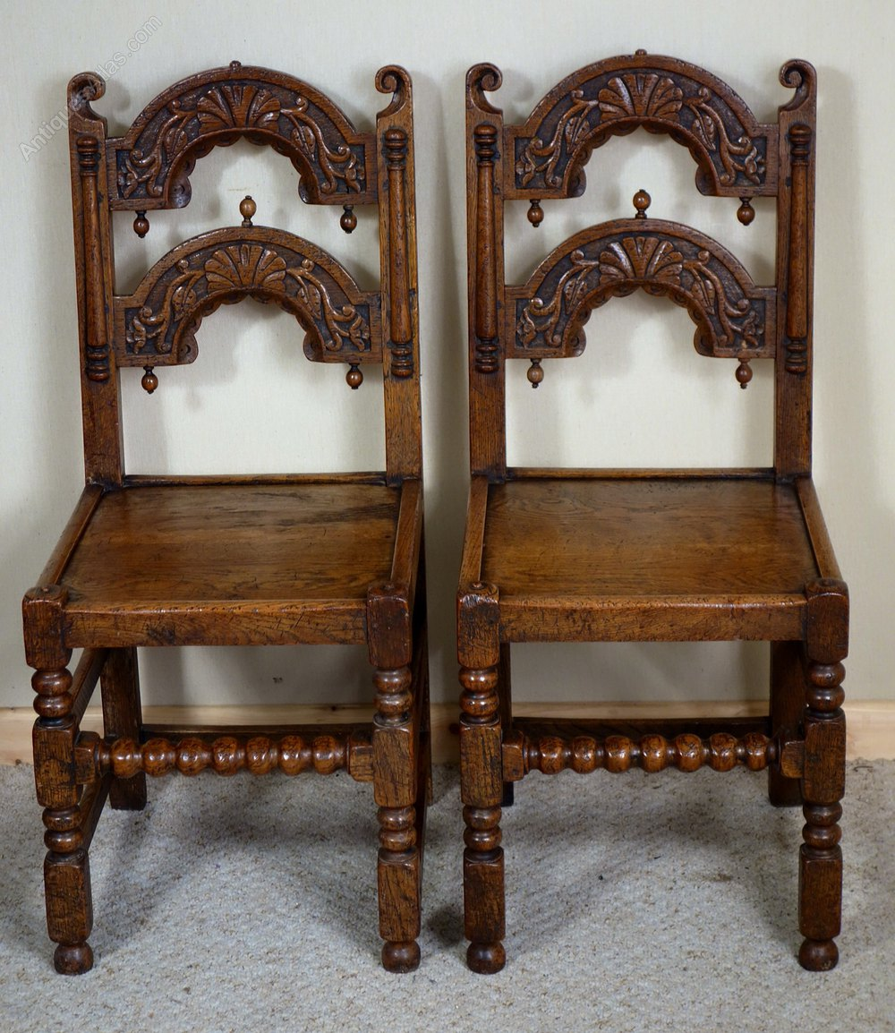 Pair carved oak late victorian derbyshire chairs antiques atlas