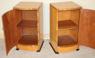 Maple Bedside Cabinets Antique Art Deco