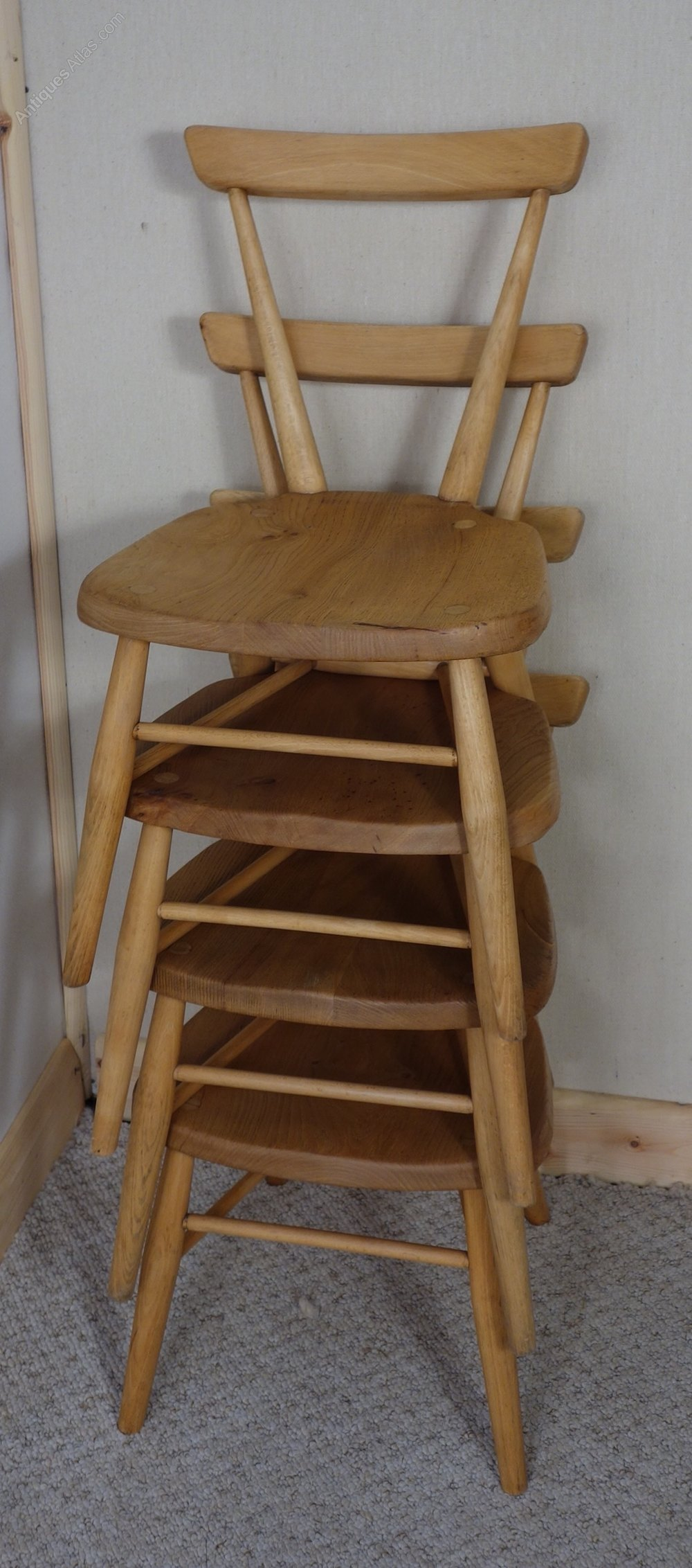 Set Of Four Ercol Stacking Childrens Chairs ...